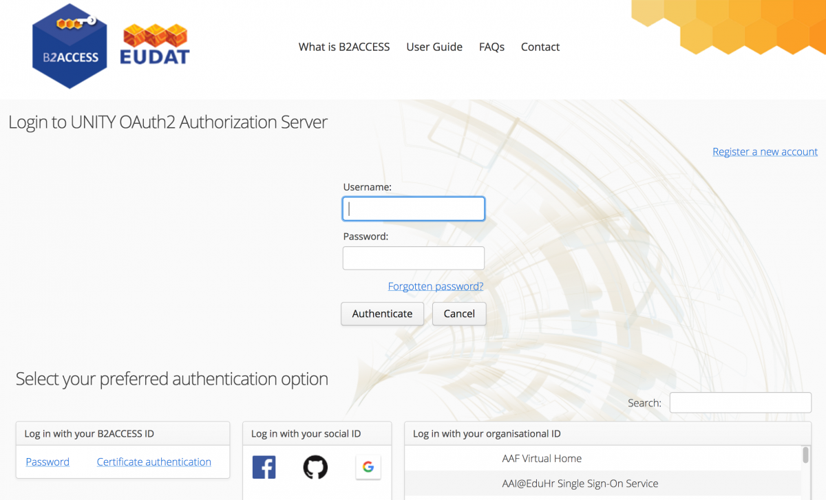 B2ACCESS registration page